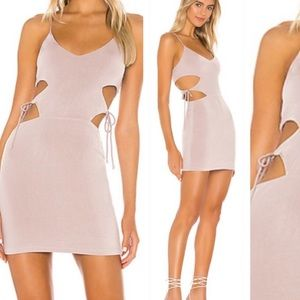 SUPERDOWN Cristal Cut Out Dress Taupe New NWT L